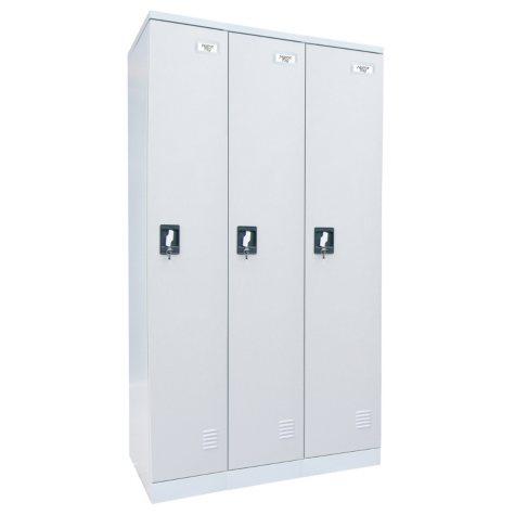 "Sandusky Quick Assembly Triple Wide Locker - Dove Gray - 72""H x 36""W x18""D"