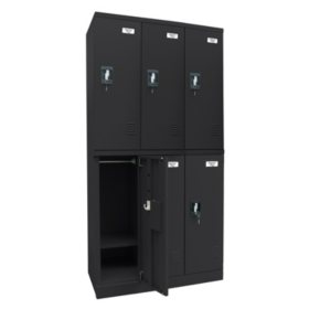 "Sandusky Quick Assembly Triple Wide Locker - Black (72""H x 36""W x 18""D)"