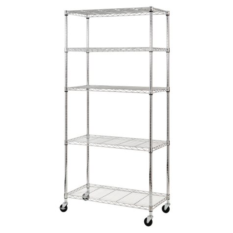 Sandusky Heavy Duty 5-Level Mobile Shelving Unit - Chrome