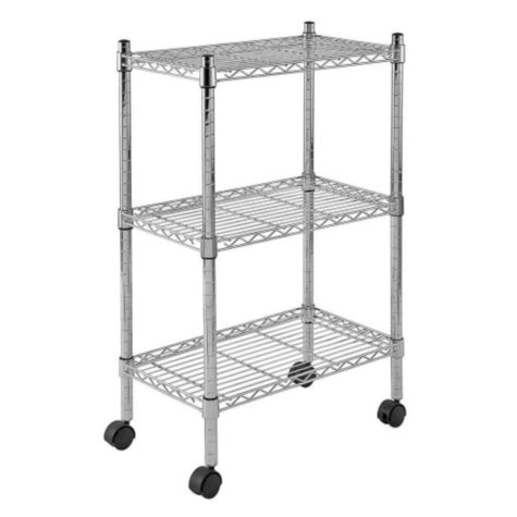 "Sandusky Heavy Duty 3-Level Mobile Wire Shelving Unit - Chrome (22""W x 13""D x 33""H)"