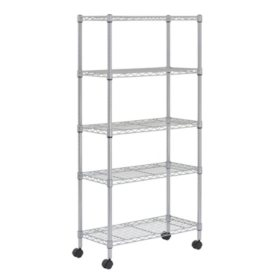 "Sandusky Heavy Duty 5-Level Wire Shelving Unit - Silver (30""W x 14""D x 60""H)"