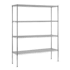 "Sandusky Heavy Duty 4-Level NSF Certified Wire Shelving - Chrome (74""H x 60""W x 18""D)"