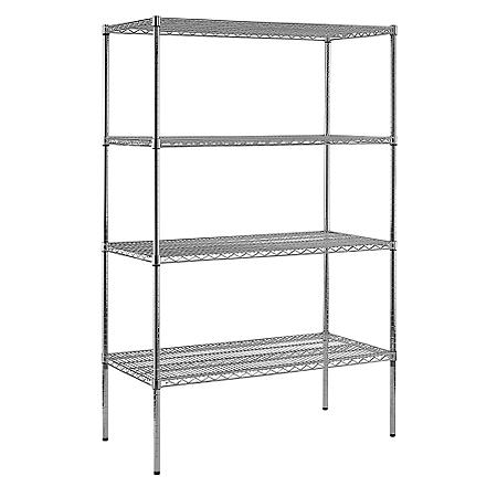 "Sandusky Heavy Duty 4-Level NSF Certified Wire Shelving - Chrome (74""H x 48""W x 24""D)"