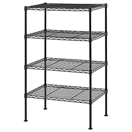 "Sandusky 4-Level Light Duty Wire Shelving Unit, Black (20""W x 32""H x 12""D)"