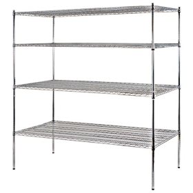 "Sandusky Heavy Duty 4-Level NSF Certified Wire Shelving - Chrome (74""H x 72""W x 36""D)"