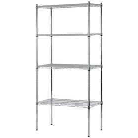"Heavy Duty NSF Certified 4-Level Wire Shelving - Chrome (74""H x 36""W x 18""D)"
