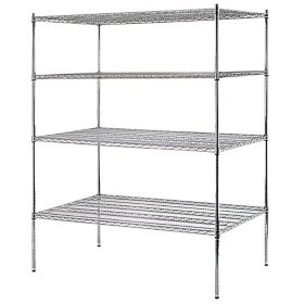 "Sandusky Heavy-Duty 4-Level NSF Certified Wire Shelving - Chrome (74""H x 60""W x 36""D)"