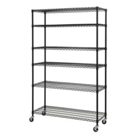 Sandusky Heavy-Duty Mobile 6-Level Wire Shelving Unit (Black)