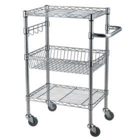 Bamboo Top Chrome Wire Kitchen Cart - Sam\'s Club