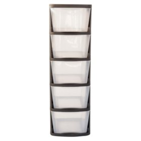 Muscle Rack 5-Drawer Clear Plastic Storage Tower with Black Frame