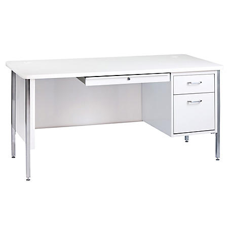 "600 Series 29.5""H x 60""W x 30""D Single Pedestal Steel Desk (Assorted Colors)"