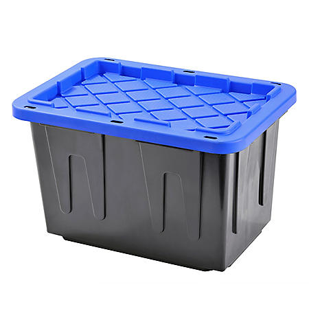 Muscle Rack 23-Gallon Heavy-Duty Tote with Black Bottom and Blue Snap Lid (4 pk.)