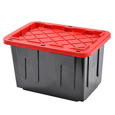 Muscle Rack 23-Gallon Heavy-Duty Tote with Black Bottom and Red Snap Lid (4 pk.)