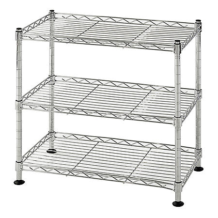 Muscle Rack 3-Shelf Mini Wire Shelving Unit (Chrome)