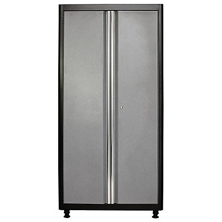 "American Heritage 72""H x 36""W x 18""D Welded Steel Floor Cabinet (Black/Multi-Granite)"