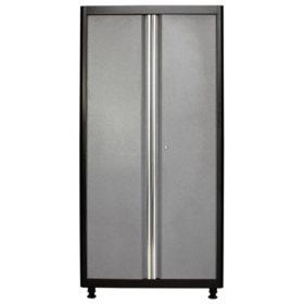 """American Heritage 72""""H x 36""""W x 18""""D Welded Steel Floor Cabinet (Black/Multi-Granite)"""