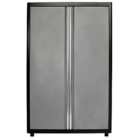 """American Heritage 72""""H x 46""""W x 24""""D Welded Steel Floor Cabinet (Black/Multi-Granite)"""