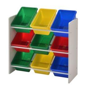 Muscle Rack Kids Storage Organizer with 9 Bins (White)