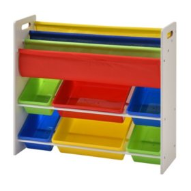 Muscle Rack Book & Toy Storage Organizer with 6-Plastic Bins
