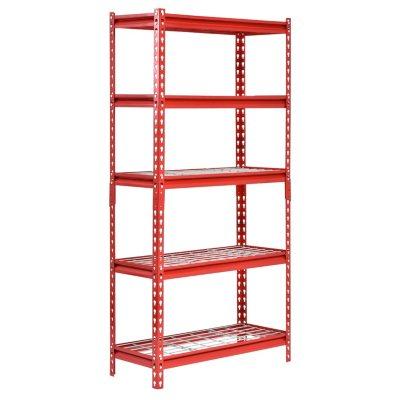 Red Muscle Rack UR301260WD5-R 5-Shelf Steel Shelving Unit 30 Width x 60 Height x 12 Length