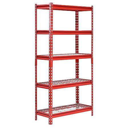 "Muscle Rack 5-Shelf Steel Shelving Unit, 30"" Width x 60"" Height x 12"" Length (Red)"
