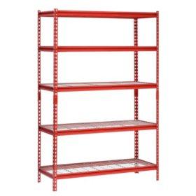 "Muscle Rack 5-Shelf Steel Shelving Unit, 48"" Width x 72"" Height x 24"" Length (Red)"