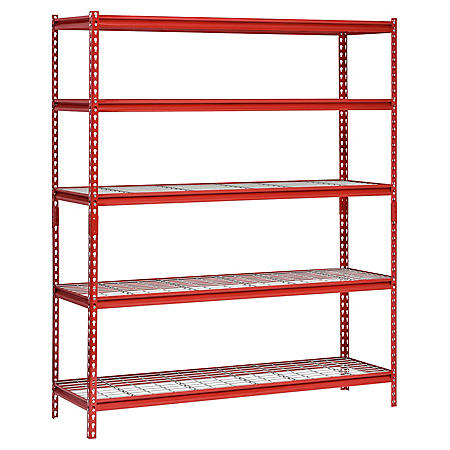 "Muscle Rack 5-Shelf Steel Shelving Unit, 60"" Width x 72"" Height x 18"" Length (Red)"