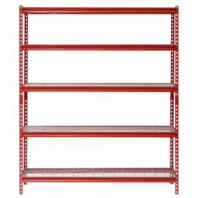 "Muscle Rack 5-Shelf Steel Shelving Unit, 60"" Width x 72"" Height x 24"" Length (Red)"