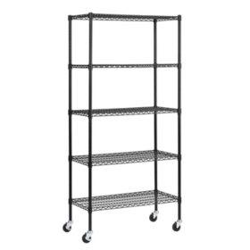 Muscle Rack 5-Shelf Mobile Wire Shelving Unit (72 in. H x 36 in. W x 18 in. D)