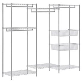 "Muscle Rack Steel Wire 6-Shelf Closet System Organizer with 4 Hanger Bars (White, 89"" W x 71"" H x 18"" D)"