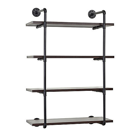 4-Tiered MDF and Metal Pipe Floating Wall Shelf