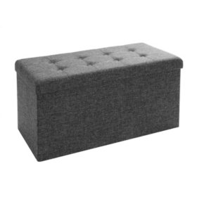 Seville Classics Foldable Storage Bench Ottoman (Charcoal Gray)