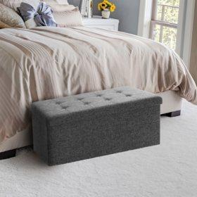 Seville Classics Foldable Storage Bench Ottoman (Charcoal Gray)