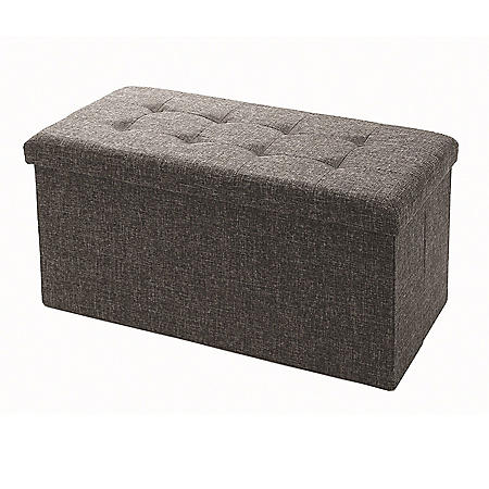 Seville Classics Foldable Storage Bench Ottoman, Gray