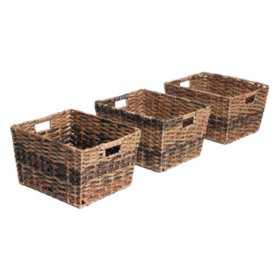 Seville Classics Decorative Woven Storage Baskets (Set of 3)