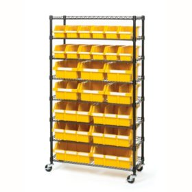 Seville Classics 24-Bin Rack with Wheels