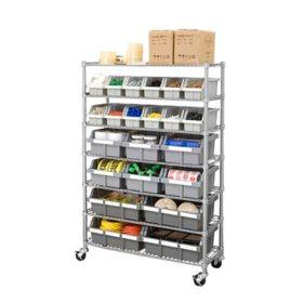 Seville Classics Commercial Bin Rack w/ Wheels - 22 Bins