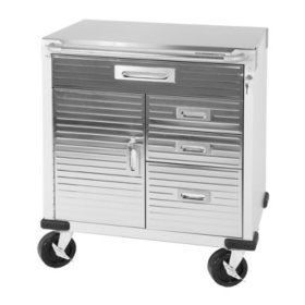 Seville Classics UltraHD Rolling Cabinet w/ Stainless Steel Top