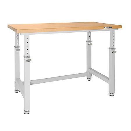 UltraHD® Adjustable Height Heavy-Duty Wood Top Workbench