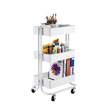 Seville Classics 3-Tier Steel Bin Trolley Cart