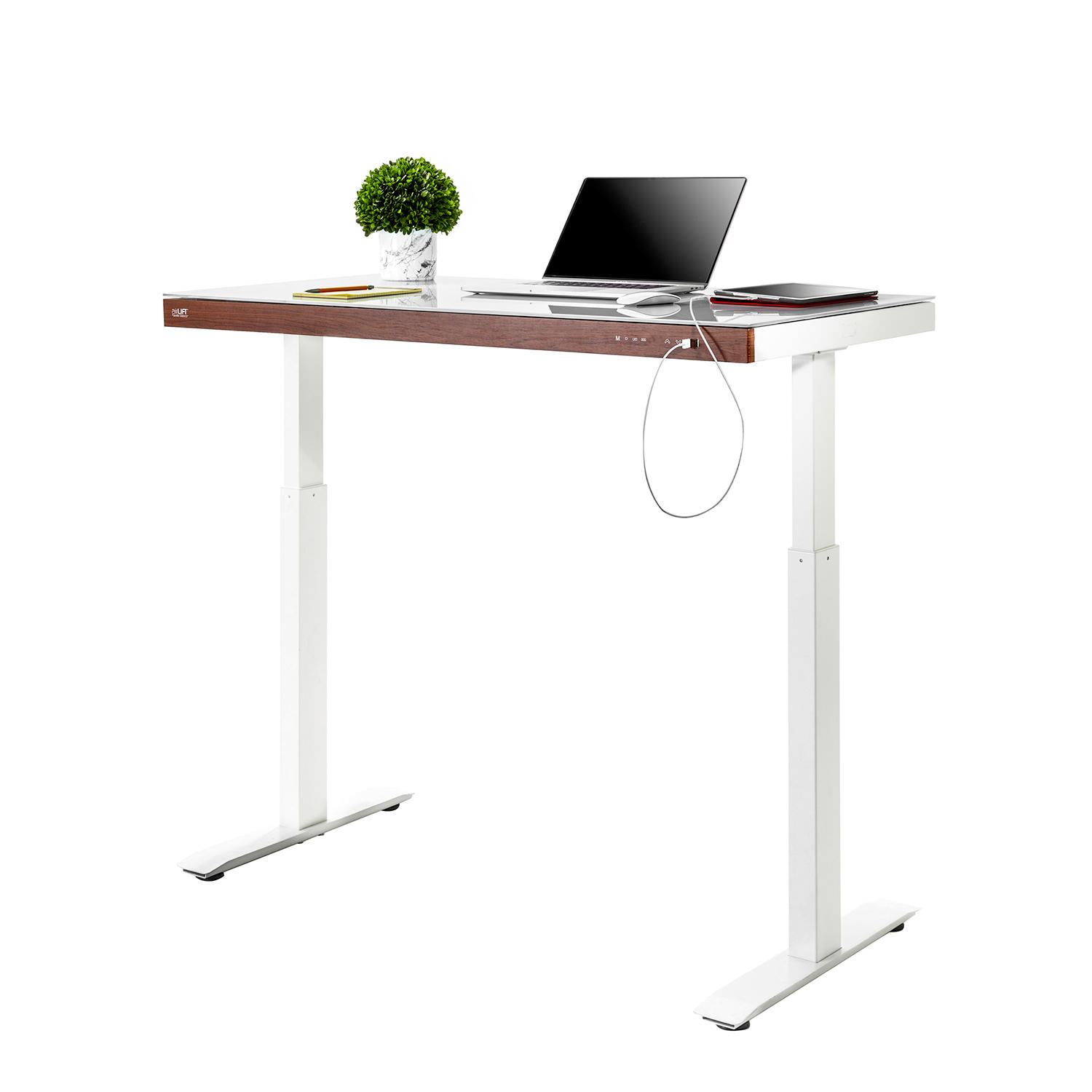 """Seville Classics airLIFT 48"""" Tempered Glass Electric Sit-Stand Desk"""