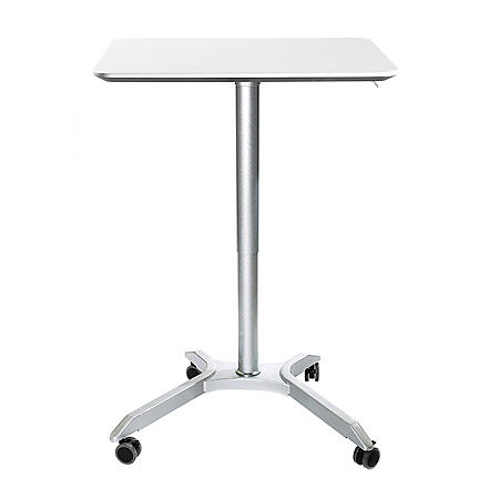 "Seville Classics AIRLIFT XL 28"" Pneumatic Sit-Stand Adjustable Rolling Desk Cart, White Silver"