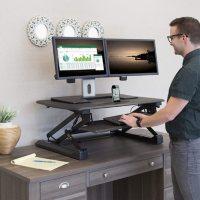 Seville Classics Airlift Pneumatic Sit Stand Desktop Workstation Converter Desk, Choose a Color