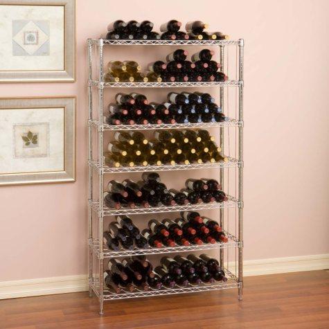 "Seville Classics 168 Bottle UltraZinc 7-Level Wine Rack (14"" x 36"" x 64"")"