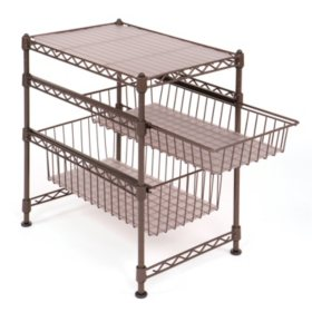 Seville Classics Stackable Kitchen Cabinet Organizer (Bronze)