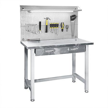 Seville Classics UltraHD Stainless Steel LED Lighted Workcenter, Granite Gray