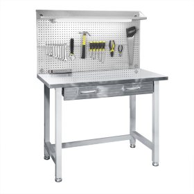 Seville Classics UltraHD Stainless Steel LED Lighted Workcenter, Granite Gray