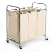 Seville Classics 3-Bag Commercial Chrome-Plated Laundry Sorter