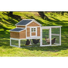 SummerHawk Ranch Victorian Teak XL Chicken Coop with Covered Pen and Accessory Bundle