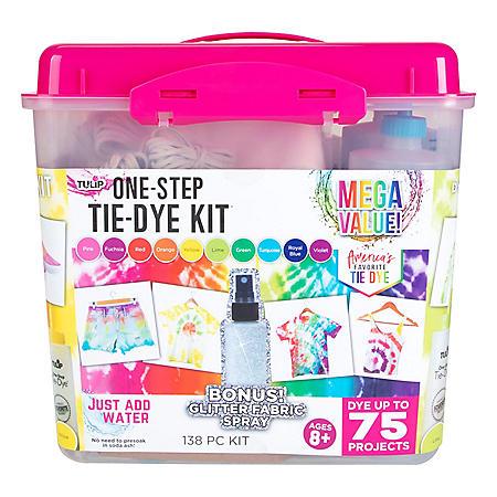 Tulip One-Step Tie-Dye Kit - 10-Color Mega Value Tub with Bonus Glitter Fabric Spray